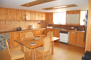 The pine-clad kitchen